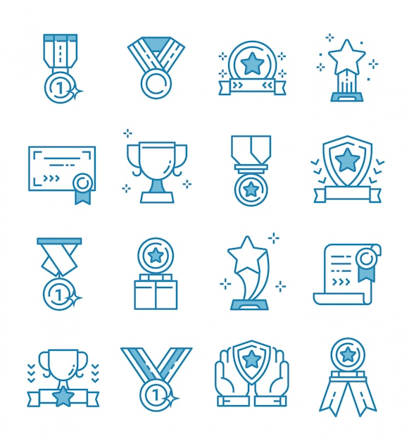 Set of awards icons with outline style Premium Vector