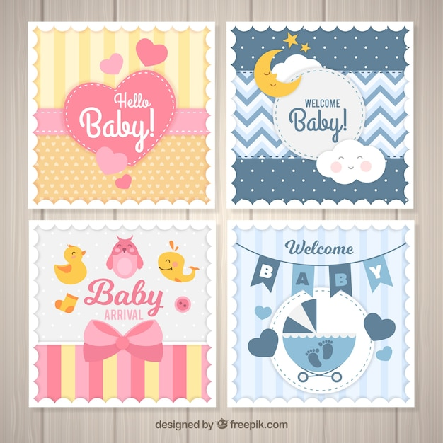 Set of baby cards in flat style Free Vector