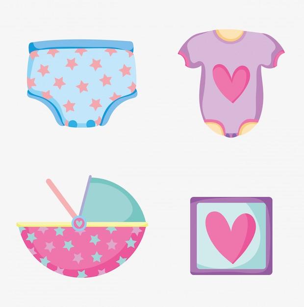 Установить детскую подгузник с пижамой и картинками Premium векторы