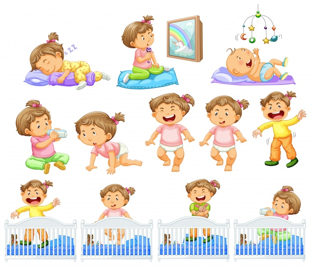 Set of baby girl doing different activities Free Vector
