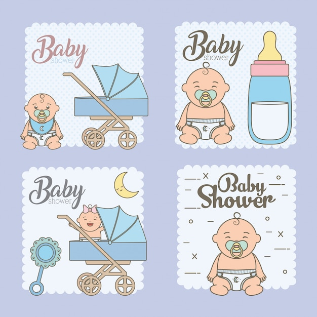 Set baby shower cards with cute little babies Free Vector
