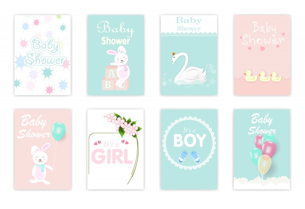 Set of baby shower cards Premium Vector