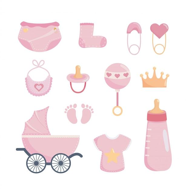 Set di elementi doccia per bambini Vettore gratuito