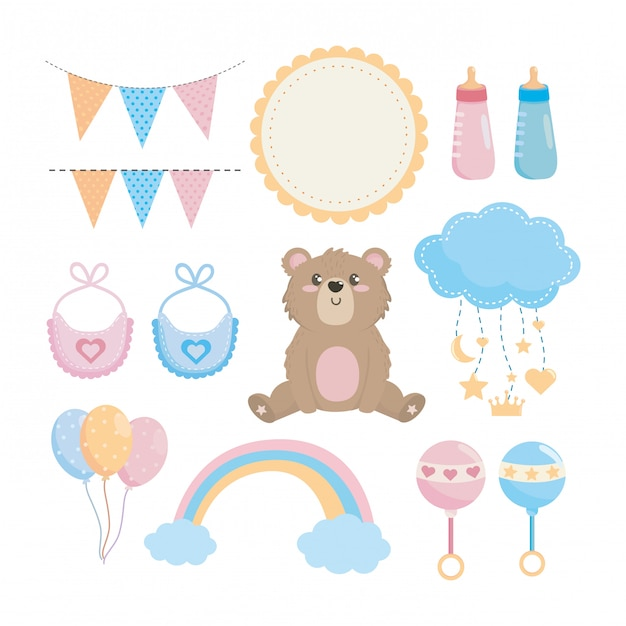 Set of baby shower elements Free Vector