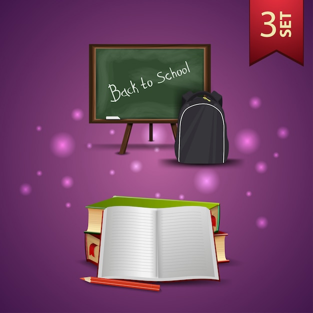 Set of back to school 3d icons, school board, school backpack, school textbooks and notebook Premium Vector
