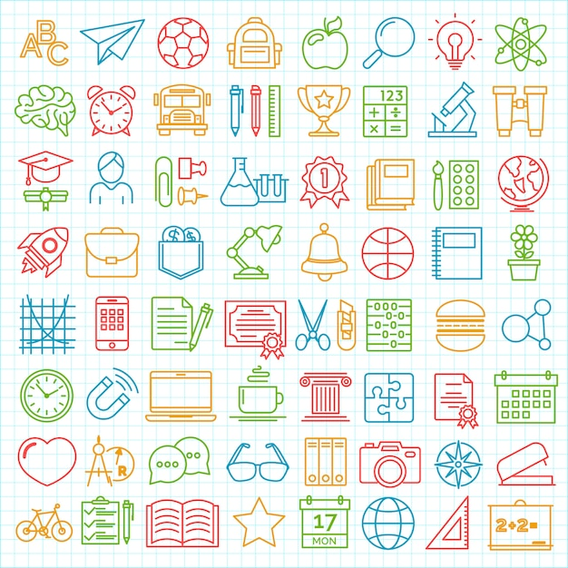 Set of back to school and education modern thin line icons Premium Vector