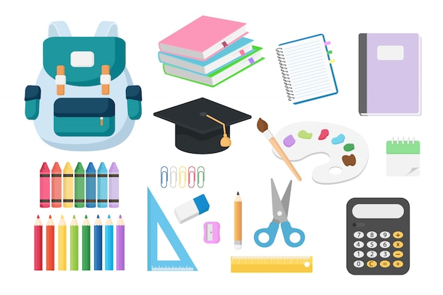 Set of back to school objects isolated Premium Vector