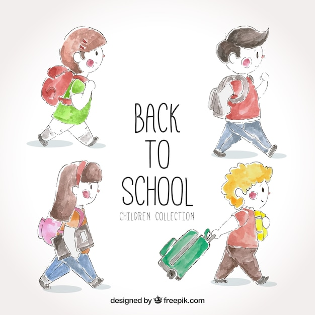 Set back to watercolor children with\ backpack