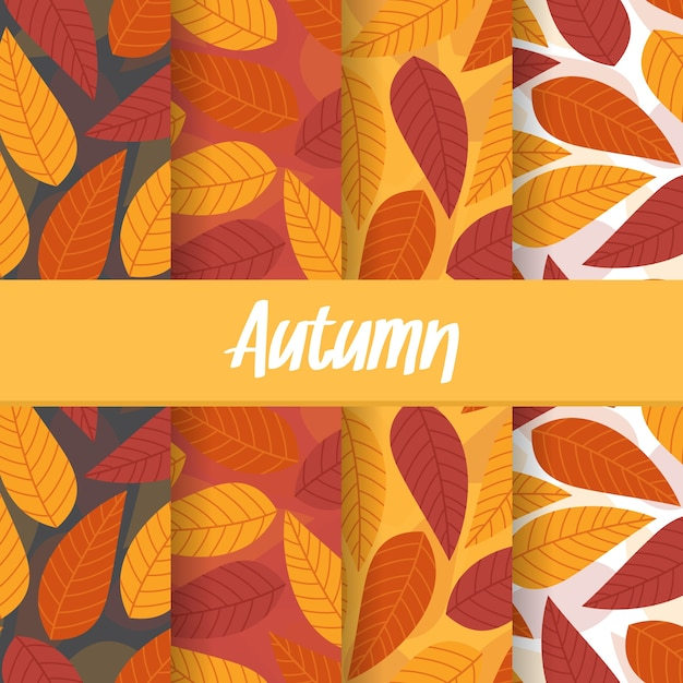 Set background of autumn fall leaf seamless pattern Premium Vector