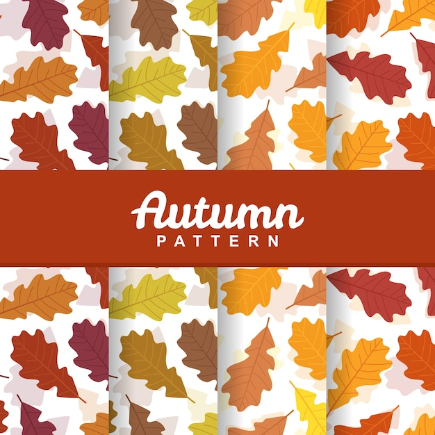 A set background of autumn fall leaves seamless pattern Premium Vector