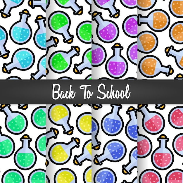 Set background of back to school spell science pattern Premium Vector