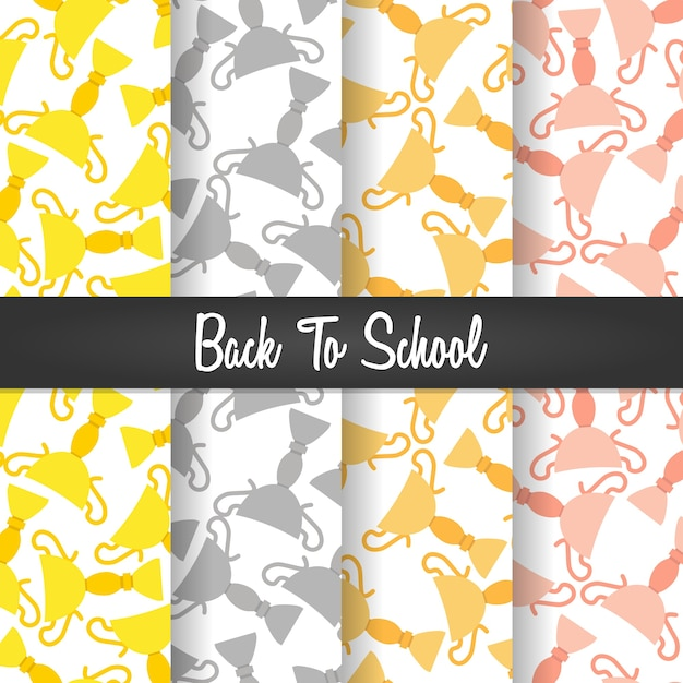 Set background of back to school trophy seamless pattern Premium Vector