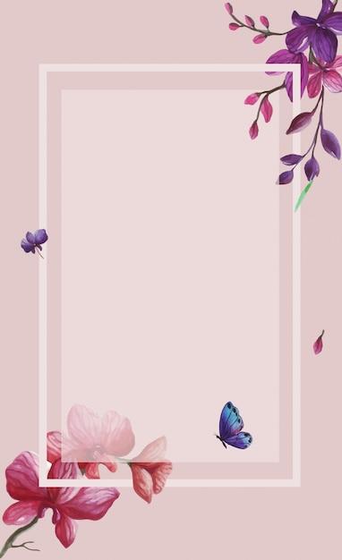 水彩の四角い枠の装飾フレームに分離された野生の春紫の花の背景イラストを設定します。 Premiumベクター