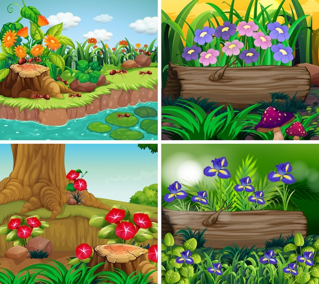 Set of background scene with nature theme Free Vector