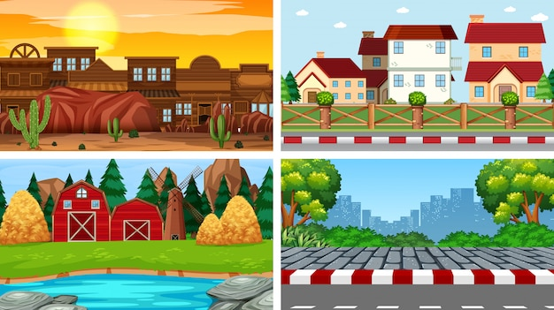 Set of background scenes background Free Vector