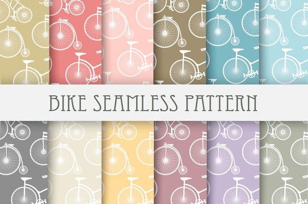 Set of backgrounds bicycle Premium Vector