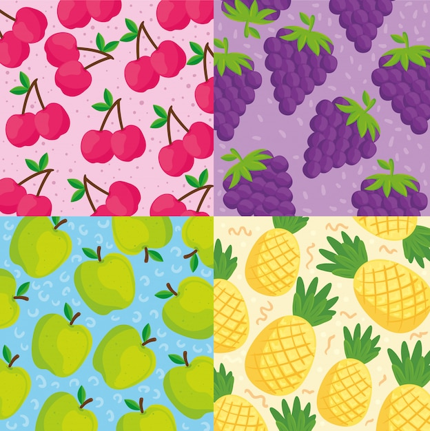 Set backgrounds of tropical fruits Premium Vector