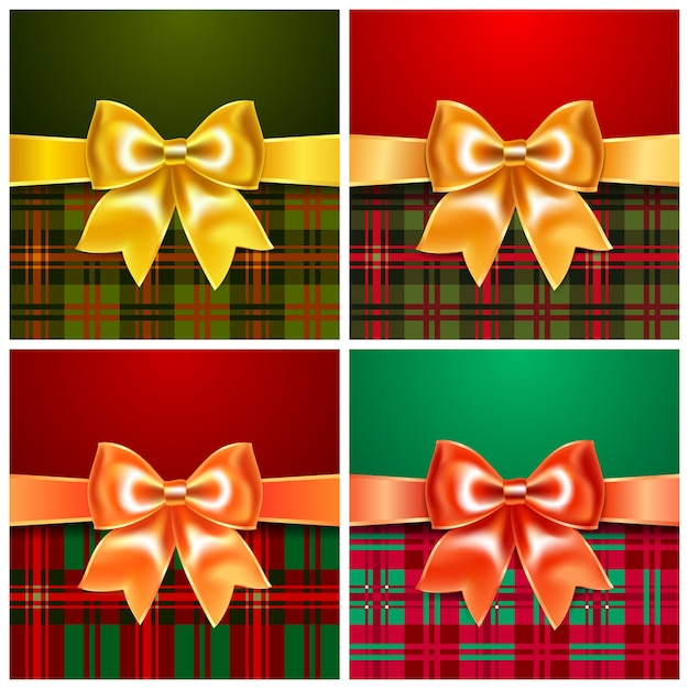 Set backgrounds with satin ribbon bow, 10eps. perfect as invitation or congratulation. Premium Vector