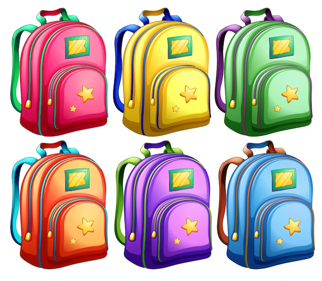 A set of backpacks Free Vector