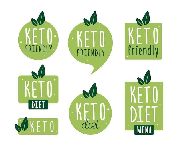 バッジケトダイエットを設定します。ベクトルフラットイラスト。ケトジェニックダイエットのロゴ看板。ケトダイエットメニュー。 Premiumベクター