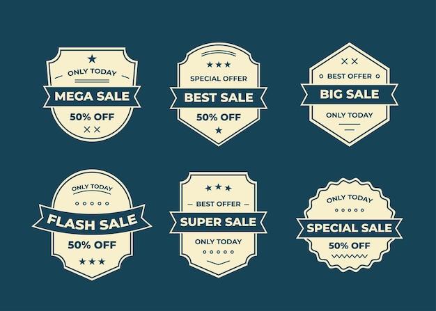 Set di badge o logo, etichetta, raccolta di elementi di design, illustrazione Vettore gratuito