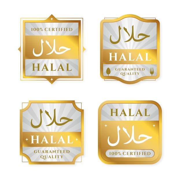 Set of badges/labels for halal in flat design Free Vector
