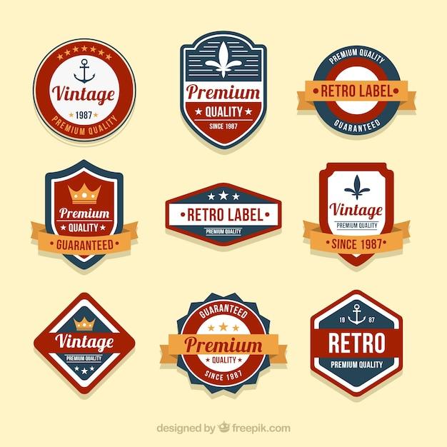 Set of badges in vintage style Premium Vector
