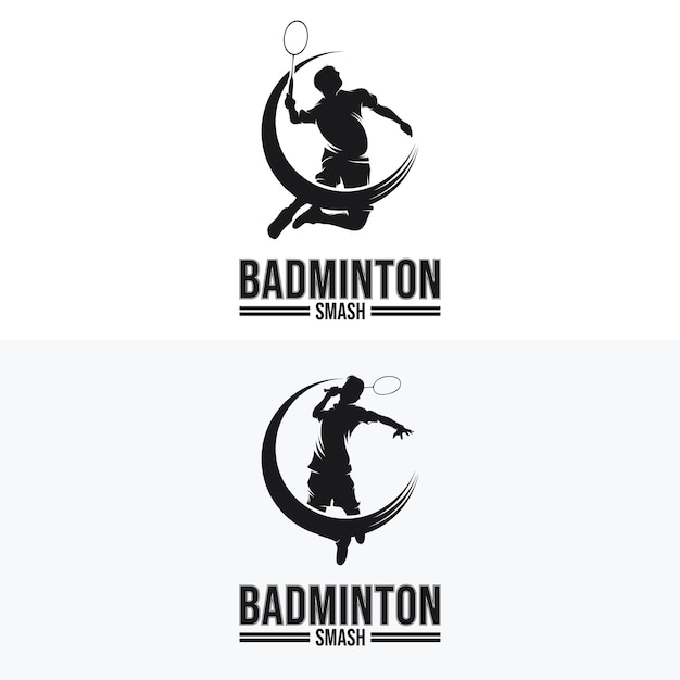 Set Of Badminton Smash Logo