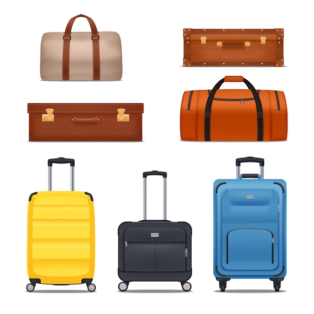 Set of bags and suitcases Free Vector