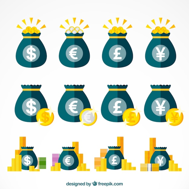 Set of bags with currency symbols Free Vector
