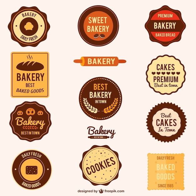 Set of bakery badges Free Vector