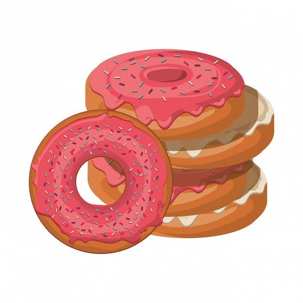 Set of bakery donuts fresh and delicious Premium Vector