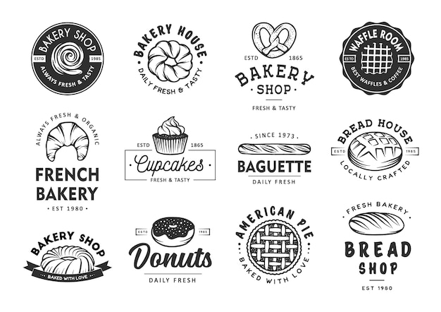 Set of bakery labels, badges, emblems and logo Premium Vector