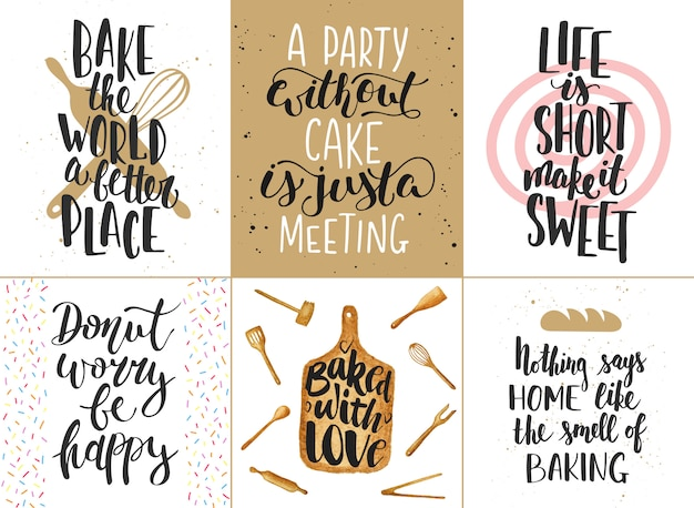 Set of bakery lettering posters, greeting cards, decoration, prints. hand drawn typography design elements. Premium Vector