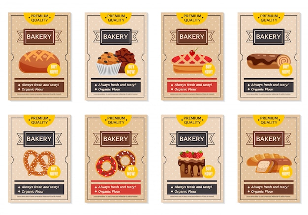 Set of bakery posters Free Vector
