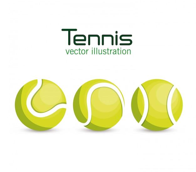 Set ball tennis sport Free Vector