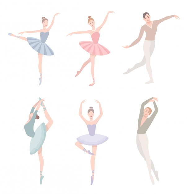Set of ballet dancer. illustration in flat style. girl and guy in tutu dress, different choreographic position collection. Premium Vector