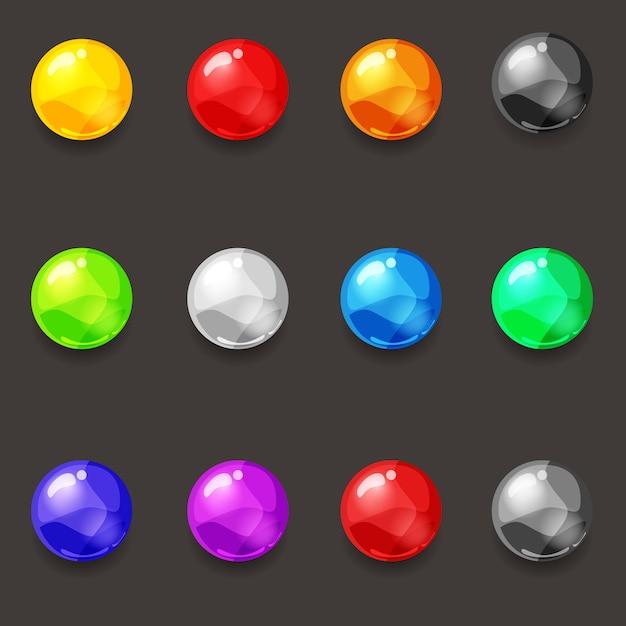 Set of balls of various colors gems diamonds pearls Premium Vector