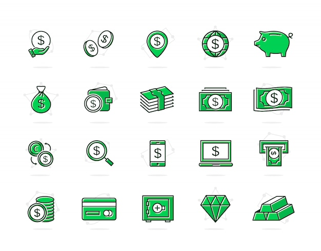 Set of bank and money colored line icons. coin, cash, card, credit and more. Premium Vector