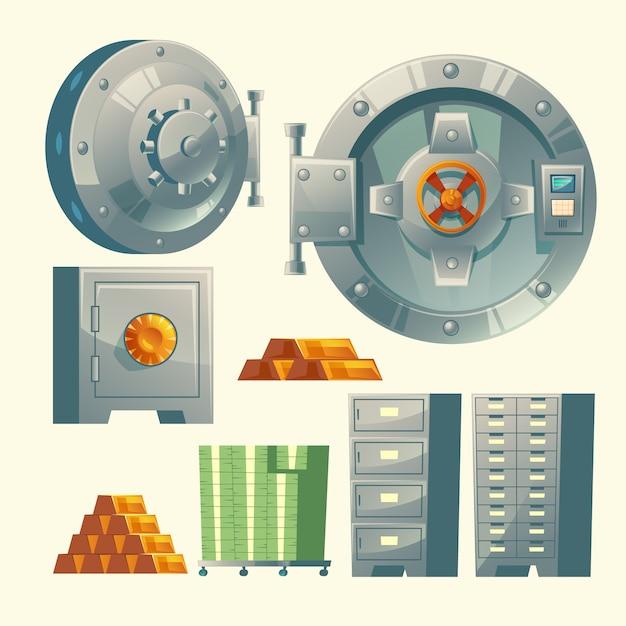 Set of bank vault, metallic iron safe door. gold, cash Free Vector