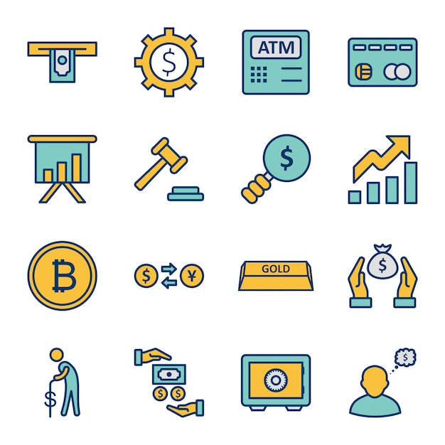 Set of  banking icons   isolated elements Premium Vector