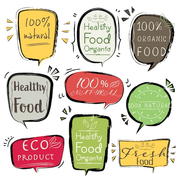 Set of banner eco product, natural, vegan, organic, fresh, healthy food. Premium Vector