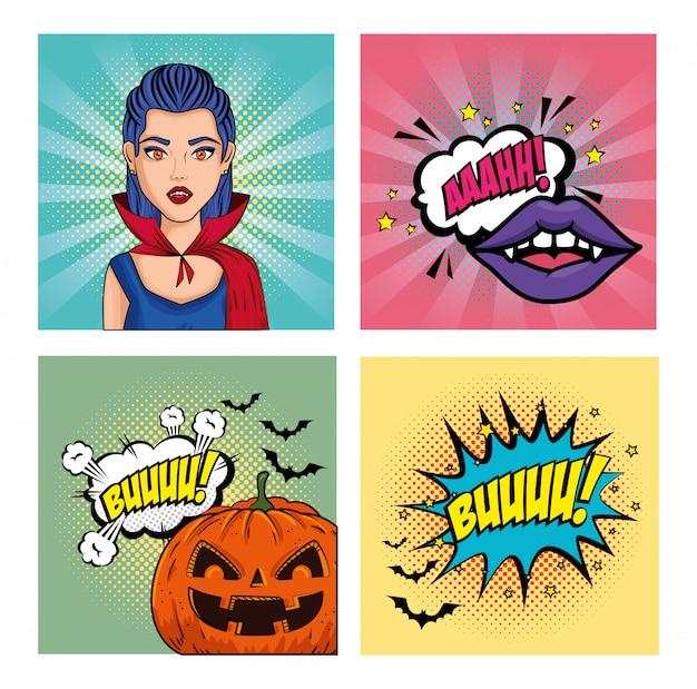 Set of banner of halloween style pop art Premium Vector