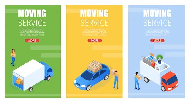 Set banner is written moving service isometric Premium Vector
