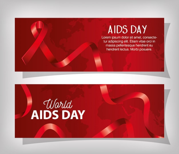 Set banner of world aids day with ribbon Free Vector