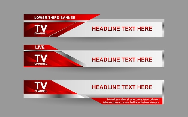 赤と白の色でニュースチャンネルのバナーと下3分の1を設定します Premiumベクター