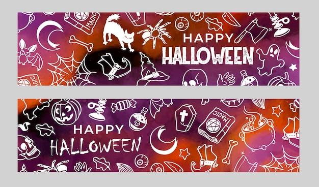 Set of banners halloween doodles in watercolor Free Vector