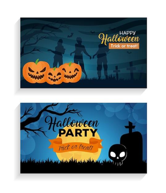 Set banners of happy halloween with decoration Premium Vector