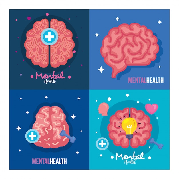 Set banners of mental health with icons Premium Vector