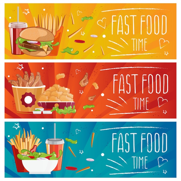 Set of banners for theme fast food with hamburgers,fries,cola and chicken nuggets. illustration Premium Vector